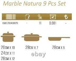 Hapistuff 9 Piece Marble Natura Granite Nonstick Cookware Pots and Pans Set
