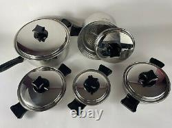 Health Craft Cookware 11 Piece Set 5ply Nicromium Surgical Steel Made In USA