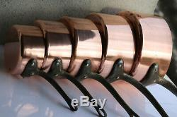 Heavy! 5 Piece French Antique /vintage Solid Copper Pan Set 6kg/13.2lbs 1.5-2mm