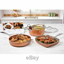 Heavy-Duty Copper Chef Pro 8-Piece Cookware Set. NEW