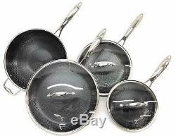 HexClad 7 Piece Hybrid Stainless/Nonstick inside and out cookware Set Commercial