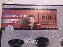 Jamie Oliver Tefal 5 Piece Hard Anodised Induction Saucepan Set Free Postage