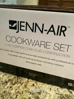 Jenn Aire 5 Ply Copper Core Stainless 10 Piece Cookware Set. New