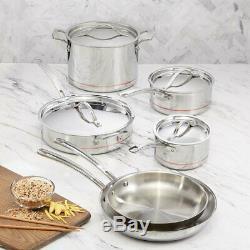 Kirkland Signature Stainless Steel 10 Piece Saucepan Frypan Cookware Set