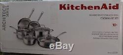 KitchenAid Gourmet Stainless Steel Tri-Ply 10 Piece Cookware Set, KCGTS10SX