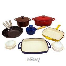 Le Chef 15-Piece All Enameled Cast Iron Cookware Set. (Multi-colored, MXR11.)