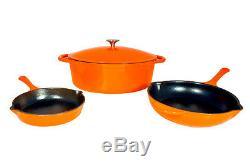 Le Chef 4-Piece Enamel Cast Iron Orange Cookware Set. On Sale