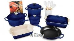 Le Creuset 16 piece cookware set blue