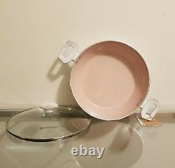 MasterClass Premium Cookware White With Pink Interior 13 Piece Set NEW