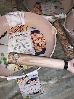 Masterclass Premium Cookware 5 Piece Pan Set PINK Speckled EcoFriendly Non Stick