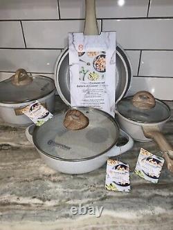 Masterclass Premium Cookware Set 8 Piece Speckled Cream casserole dish, Skillet