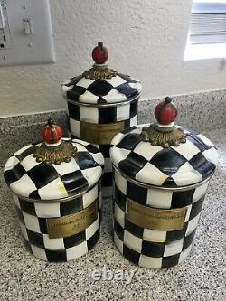 McKenzie Childs Enamelware Courtly Check 3 Piece Canister Set