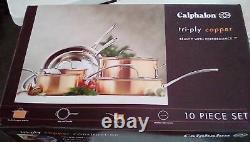 NEW Calphalon T10 Tri-Ply Copper 10 Piece Cookware Set