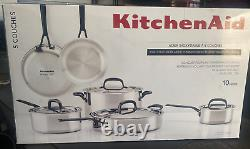NEW Display Model KitchenAid 5-Ply Clad Stainless Steel Cookware 10 Piece Set