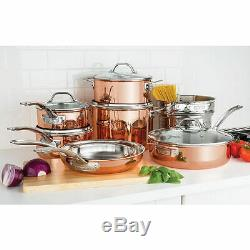 NEW Viking 13-Piece Tri-Ply Durable Copper Cookware Set Brown 40571-9993C