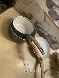 NIB Masterclass Premium Cookware 8 Piece Set Ceramic GREY White Shimmer