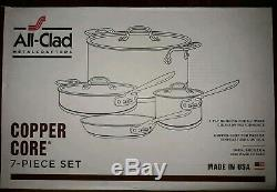 New All-Clad 7 Piece Copper Core 5-Ply Bonded Cookware Set NIB 6000-7 SS