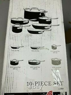 New All Clad LTD Stainless Steel Hard Anodized 10 Piece Cookware Set