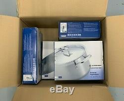 New BNIB Le Creuset 3-Ply Stainless Steel Cookware Set, 4 Pieces
