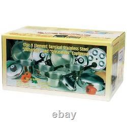 New Extra Heavy Stainless Steel Maxam Cookware Set Pots Pans Steamer 17 Piece