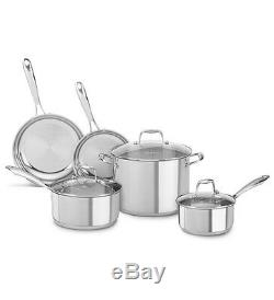 New KitchenAid Stainless Steel 8-Piece Cookware Pots and Pans Set KCSS08LS