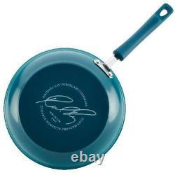 Nonstick 15 Piece Hard Enamel Aluminum Pots & Pans Cookware Set Marine Blue