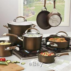 Nonstick Cookware Set Chocolate Hard-Anodized 11-Piece Symmetry Heavy Duty