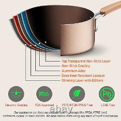 NutriChef Nonstick Cooking Kitchen Cookware Pots and Pans, 20 Piece Set, Bronze