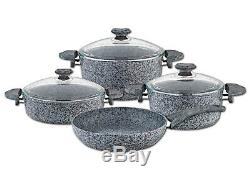 OMS 7 Piece Stone Casserole Pot Frying Pan Cookware Set Super Non-Stick In Grey