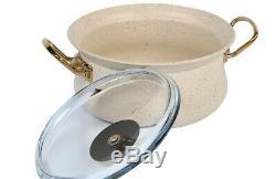 OMS 9 Piece Ivory White Cookware Non Stick Set Glass Lids Casserole Pan Pot 3045
