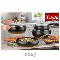 OMS Cookware Non Stick Granite Copper Set, Glass Lids Casserole Pan Pot, 9 Piece