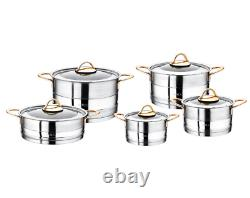 O. M. S 10 Piece Stainless Steel Cookware Set Stock Pot Capsule Bottom 1019