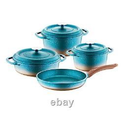 O. M. S Granite Turquoise Cookware Set Glass Lid Casserole Pan Pot 7 Piece 3049