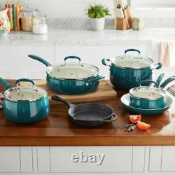 PIONEER WOMAN Classic Belly 10 Piece Ceramic Non-stick & Cast Iron Cookware Set