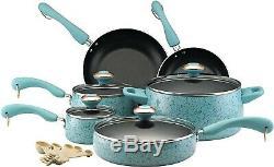 Paula Deen 13064 Signature Nonstick Cookware Pots and Pans Set, 15 Piece, Aqua