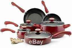 Paula Deen Collection Red Speckle Nonstick 15-piece Cookware Set Pot Saucepan IL