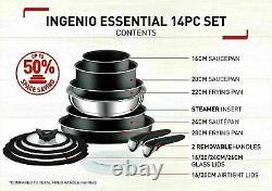 Pots & Frypan Cookware Set Tefal Non-stick 14 Piece INGENIO Essential Black