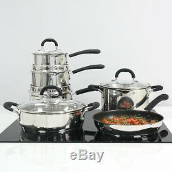 ProCook Gourmet Stainless Steel Induction Cookware Pan Set 6 Piece Pots Frying