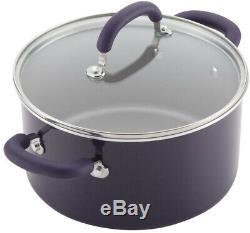 RACHAEL RAY Cookware Set Aluminum Nonstick with Lids, Purple Shimmer (13-Piece)