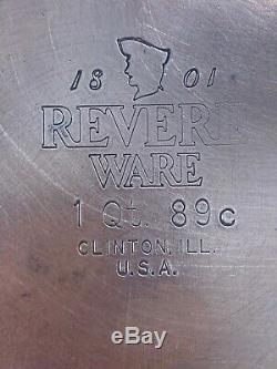 REVERE WARE 14 PIECE SET 1801 Copper Bottom, Sauce Pans, Skillets, Lids
