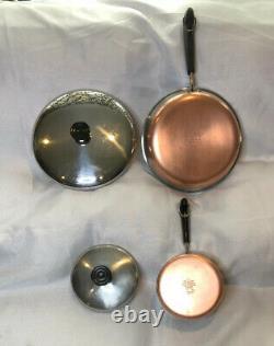 REVERE WARE 1801 COPPER BOTTOM 11 PIECE SET 4 Pots, 3 Skillets, & Lids fit All