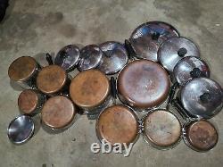 REVERE WARE 1801 COPPER BOTTOM 16 PIECE SET 5 Pots, 4 Skillets, plus lids