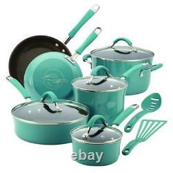 Rachael Ray 16344 Cucina Hard Enamel Nonstick 12-Piece Cookware Set Agave Blue