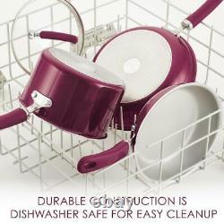 Rachael Ray Cookware Set Oven Safe Aluminum Nonstick Burgundy Shimmer 13-Piece