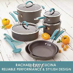 Rachael Ray Cucina Cookware Pots & Pans Set, 12-Pcs. Hard Anodized Nonstick NEW