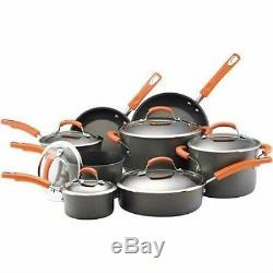 Rachael Ray Dishwasher Safe Hard Anodized 14-Piece Cookware Set Gray/Orange trim