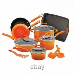 Rachael Ray Orange Gradient 14 Piece Enamel Cookware Set