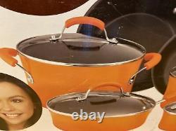 Rachel Ray Cookware Set 14-Piece Pots Pans Non-Stick Kitchen Hard Enamel Orange