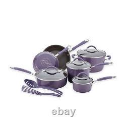 Rachel Ray New Hard Porcelain Enamel Nonstick Cookware Set 12 Piece Lavender