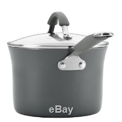 Rachel Ray New Hard Porcelain Enamel Nonstick Cookware Set 12 Piece Salt Grey